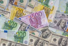 Dollar and euro notes for background Stock Photos