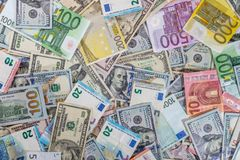 Dollar and euro notes for background as business. Dollar and euro notes  for background as business concept Stock Photo