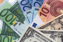 Dollar euro notes background Royalty Free Stock Images