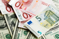 Dollar and euro notes Royalty Free Stock Photos