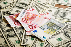 Dollar and euro notes Stock Photo