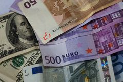 Dollar and euro notes. Royalty Free Stock Photography