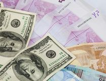 Dollar and euro notes. Royalty Free Stock Photos