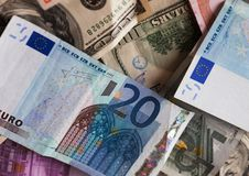 Dollar and euro notes. Royalty Free Stock Image