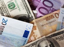 Dollar and euro notes. Stock Photography