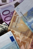 Dollar and euro notes. Royalty Free Stock Photo