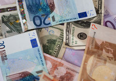 Dollar and euro notes. Royalty Free Stock Images
