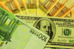 Dollar and euro notes Royalty Free Stock Photography