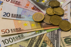 Dollar and euro notes. symbol differences. Euro dollar Royalty Free Stock Images