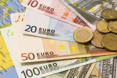 Dollar and euro notes. symbol differences. Euro dollar Stock Photo
