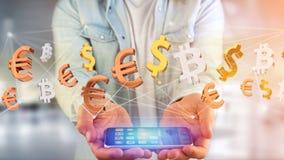 Dollar-, euro- och Bitcoin tecken som flyger runt om en nätverksconnectio Royaltyfri Bild