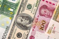 Dollar-, euro- och yuancloseup Royaltyfri Bild