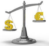 Dollar and Euro pair on scale Royalty Free Stock Photos