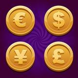 Dollar, Euro, Pfund und Yen, Goldmünzen Lizenzfreies Stockfoto