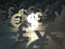 Dollar-, Euro-, Pfund- und Yenzeichen Geldumtausch-Konzept Stockbild