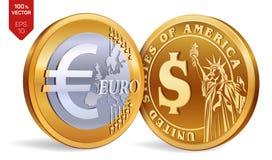 Dollar Euro pièces de monnaie 3D d'or physiques isométriques avec le symbole du dollar et d'euro Argent américain argent européen Image libre de droits