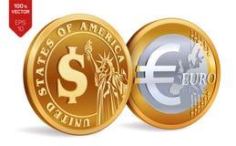 Dollar Euro pièces de monnaie 3D d'or physiques isométriques avec le symbole du dollar et d'euro Argent américain argent européen Image stock