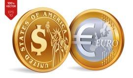 Dollar Euro pièces de monnaie 3D d'or physiques isométriques avec le symbole du dollar et d'euro Argent américain argent européen illustration stock