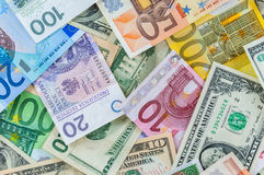 Dollar, euro and polish zloty money background Stock Photography