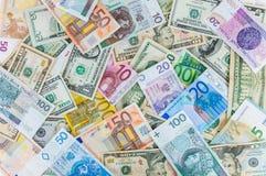 Dollar, euro and polish zloty money background Stock Photos