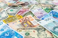Dollar, euro and polish zloty money background Stock Images