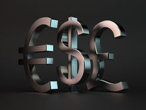 Dollar, euro, pound. 3d render of metal characters dollar, euro, pound over black background Stock Images