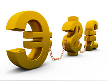 Dollar,euro and pound. 3D dollar,euro and pound isolated on white Royalty Free Stock Photos