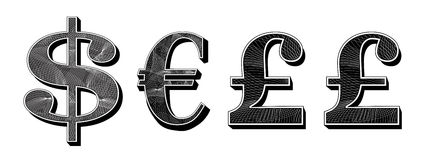 Dollar euro and pound currency Stock Photography