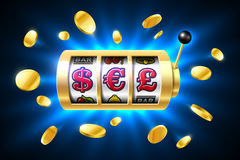 Dollar, Euro and Pound currency symbols on slot machine. Gambling games, casino banner with bright blue background and flying coins around Royalty Free Stock Images