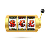 Dollar, Euro and Pound currency symbols on slot machine Royalty Free Stock Photography