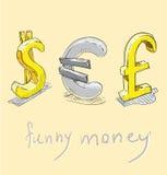 Dollar, euro, pound. funny money signs. Stock Photos