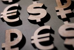Dollar, euro, pound, ruble and bitcoin icons stock photography