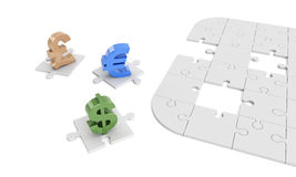 Dollar, euro, pound signs on puzzle pieces. Computer generated image of currency symbols with global illumination Royalty Free Stock Photography