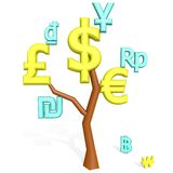 Dollar, euro, pound sterling signs on a tree. 3d dollar, euro, pound sterling signs isolated on white on a tree Royalty Free Stock Image