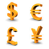 Dollar, Euro, Pound, Yen. Set of 4 currency 3d symbols Stock Images