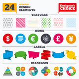 Dollar, Euro, Pound and Yen currency icons. Stock Photography