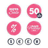 Dollar, Euro, Pound and Yen currency icons. Royalty Free Stock Images