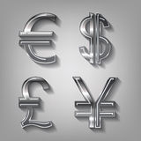 Dollar, Euro, Pound and Yen currency icons Stock Photography