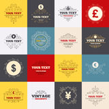 Dollar, Euro, Pound and Yen currency icons Royalty Free Stock Photos