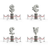 The dollar, euro, pound, yen exhibits. 3D illustration of currency symbol sculptures Royalty Free Stock Images