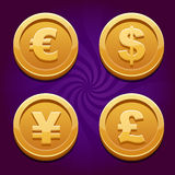 Dollar, Euro, Pound and Yen, gold coins Royalty Free Stock Photo
