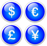 Dollar Euro Pound Yen Icon Button. Set Stock Photography