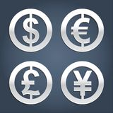 Dollar, Euro, Pound and Yen signs collection. Royalty Free Stock Images