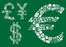 Dollar, euro, pound and yen signs. Composed with business, financial, banking and corporate icons on green background Royalty Free Stock Photo
