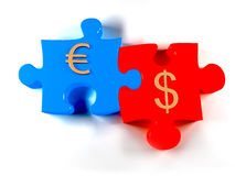 Dollar & Euro Puzzles. A background with a Two jigsaw puzzle pieces representing Euro in blue color and dollar in red color, on a white background Stock Photos
