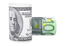 Dollar and euro rolls. Isolated over white background Stock Photos
