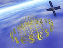 Dollar, euro rond wereld met satelliet. stock illustratie