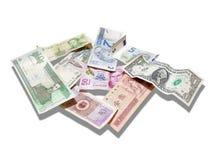 Dollar, Euro, Rube, Yuans, Echt, Peso's, op Wit Royalty-vrije Stock Fotografie