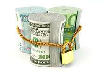 Dollar, euro, ruble on lock Stock Images
