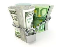 Dollar, euro, ruble on lock Stock Photos